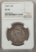 Bust Half Dollars, 1820 50C Curl Base 2, Small Date XF45 NGC. NGC Census: (31/106). PCGS Population: (35/126). CDN: $500 Whsle. Bid for proble...