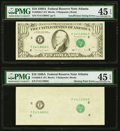Error Notes:Missing Face Printing (100%), Second Print Missing Error Fr. 2028-F $10 1988A Federal Reserve Note. PMG Choice Extremely Fine 45 EPQ;. Insufficient Inki... (Total: 2 notes)