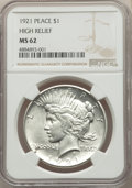 Peace Dollars, 1921 $1 High Relief MS62 NGC. NGC Census: (2514/8288). PCGS Population: (2772/10971). CDN: $275 Whsle. Bid for problem-free...