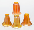 Art Glass, A Group of Four American Tiffany-Style Iridescent Glass Lamp Shades, early 20th century. 5 x 5 inches (12.7 x 12.7 cm) (larg... (Total: 4 Items)