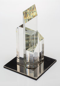 A Steuben Glass, Stainless Steel, and Wood CityscapeSculpture, designed 1976 Mark