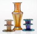 Art Glass, Three Tiffany Studios Favrile Glass Table Articles, circa 1915. Marks: L.C. Tiffany, Favrile, (various). 9-3/4 x 3-1... (Total: 3 Items)