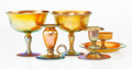 Art Glass:Steuben, Five Steuben Gold Aurene Glass Table Items, early 20th century. Marks: aurene, (various). 5-1/2 x 6-1/2 inches (14.0 x 1... (Total: 5 Items)