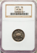 Proof Shield Nickels: , 1872 5C PR66 NGC. NGC Census: (45/9). PCGS Population: (66/5). CDN: $750 Whsle. Bid for problem-free NGC/PCGS PR66. Mintage...