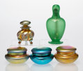 Art Glass:Steuben, A Group of Five Steuben Glass Dressing Table Items, early 20th century. Marks to oil lamp: STEUBEN (fleur-de-lis) . Mark... (Total: 5 Items)