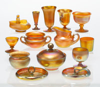 A Group of Ten Steuben Gold Aurene Glass and Four Similar Art Glass Items, early 20th century Marks: aurene... (Total: 1...