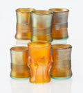 Art Glass:Tiffany, A Group of Six Tiffany Studios Favrile Glass Cups, early 20th century. Marks: L.C.T., (various). 2 x 1-1/4 inches diamet... (Total: 6 Items)