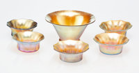 A Group of Five Tiffany Studios Favrile Glass Salts with Bowl, early 20th century Marks to bowl and four salts: