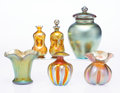 Art Glass:Steuben, A Group of Six Steuben Gold Aurene Glass Table Items, early 20th century. Marks: aurene, (various). 6-1/2 x 4 inches (16... (Total: 6 Items)