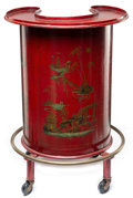 Furniture , A Continental Chinoiserie Red Tole-Painted Bar Cart, circa 1925. 34-3/4 x 23-1/2 x 21-1/2 inches (88.3 x 59.7 x 54.6 cm). ...