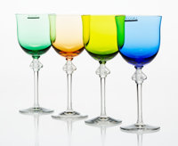 A Set of Four Lalique Colored, Frosted and Clear Glass Roxane Wine Glasses, post-194