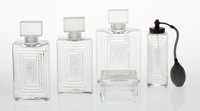 A Group of Five Lalique Clear and Frosted Glass Duncan Items, late 20th century M