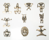 "A Group of Ten Sigfrido ""Sigi"" Pineda Silver Pendants, Taxco, Mexico, mid-20th century Marks: Sigi, (va"