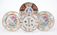 A Group of Four Chinese Export Porcelain Plates, late 18th century 3/4 x 9-1/8 x 9-1/8 inches (1.9 x 23.2 x 23.2 c