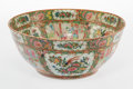 Ceramics & Porcelain, A Chinese Export Famille Rose Porcelain Punch Bowl, late 19th century. 6-1/2 x 15-7/8 x 15-7/8 inches (16.5 x 40.3 x 40.3 cm...