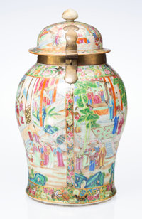 A Chinese Export Famille Rose Porcelain and Brass Covered Urn, late 19th century 25 x 15 x 15 inches (63.5 x 38.1