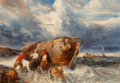Paintings, Eugène Gabriel Louis Isabey (French, 1803-1886). Casting Off in Stormy Seas. Oil on canvas. 18 x 25 inches (45.7 x 63.5 ...