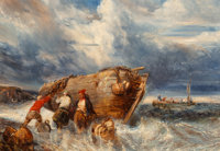 Eugène Gabriel Louis Isabey (French, 1803-1886) Casting Off in Stormy Seas Oil on canvas 18 x 25