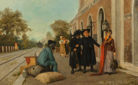Luigi Pastega (Italian, 1858-1927) Incident at the Station Oil on canvas 22-1/4 x 35-1/2 inches (