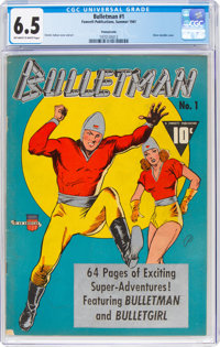 Bulletman #1 Pennsylvania Pedigree (Fawcett Publications, 1941) CGC FN+ 6.5 Off-white to white pages