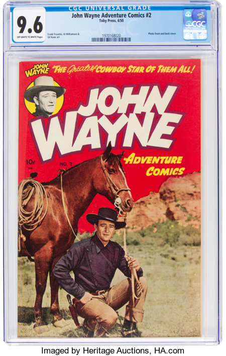 John Wayne Adventure Comics #2 (Toby Publishing, 1950) CGC NM+ 9.6 Off-white to white pages....