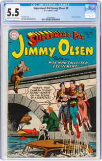 Superman's Pal Jimmy Olsen #3 (DC, 1955) CGC FN- 5.5 Cream to off-white pages