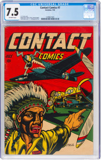 Contact Comics #7 (Aviation Press, 1945) CGC VF- 7.5 Off-white pages