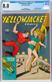 Yellowjacket Comics #1 (Frank Comunale, 1944) CGC VF 8.0 Off-white to white pages