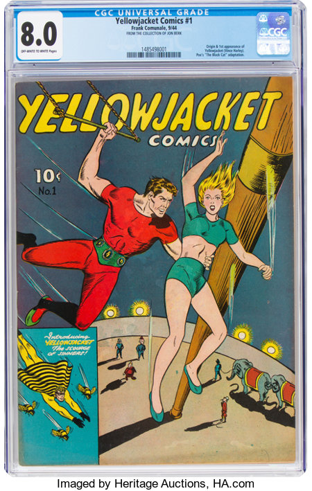 Yellowjacket Comics #1 (Frank Comunale, 1944) CGC VF 8.0 Off-white to white pages....