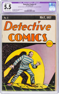 Platinum Age (1897-1937):Miscellaneous, Detective Comics #3 (DC, 1937) CGC Apparent FN- 5.5 Moderate/Extensive (A-4) Slightly brittle pages....