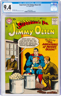 Superman's Pal Jimmy Olsen #23 (DC, 1957) CGC NM 9.4 Off-white to white pages