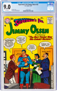 Superman's Pal Jimmy Olsen #25 (DC, 1957) CGC VF/NM 9.0 White pages