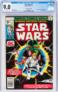 Bronze Age (1970-1979):Science Fiction, Star Wars #1 35¢ Price Variant (Marvel, 1977) CGC VF/NM 9.0 White pages....