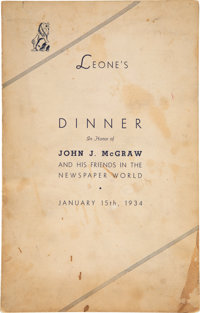 1934 John McGraw Signed Banquet Program--One of His Final Autographs