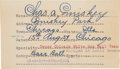 Baseball Collectibles:Others, 1929 Charles Comiskey Hand Written & Signed Index Card. ...