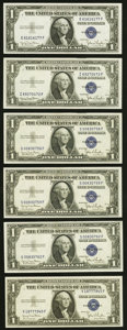 Small Size:Silver Certificates, Fr. 1613N $1 1935D Narrow Silver Certificates. Six Examples. Choice Crisp Uncirculated or Better.. ... (Total: 6 notes)