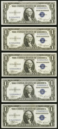 Small Size:Silver Certificates, Fr. 1611 $1 1935B Silver Certificates. Five Examples. Choice Crisp Uncirculated or Better.. ... (Total: 5 notes)