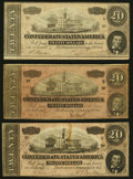 Confederate Notes:1864 Issues, T67 $20 1864 Three Examples Fine-Very Fine or Better.. ... (Total: 3 notes)