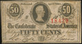 Confederate Notes:1863 Issues, T63 50 Cents 1863 PF-6 Cr. 488 About Uncirculated. . ...