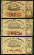 Obsoletes By State:North Carolina, Raleigh, NC- State of North Carolina 50¢ Jan. 1, 1864 Cr. 149 Three Examples Fine; About Uncirculated; Crisp Uncirculated.... (Total: 3 notes)