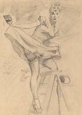 Fine Art - Work on Paper, Gil Elvgren (American, 1914-1980). In the Red, Brown & Bigelow calendar illustration preliminary, 1950. Charcoal on vell...