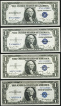 Small Size:Silver Certificates, Fr. 1608* $1 1935A Silver Certificate Star. Choice Crisp Uncirculated;. Fr. 1613W $1 1935D Wide Silver Certificates. Two E... (Total: 4 notes)