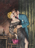 Fine Art - Painting, American, Walter Popp (American, 1920-2002). Kiss of the Damned paperback cover, 1953. Gouache on Masonite. 16 x 12 inches (40.6 x...