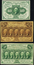First Issue Fractionals with Monogram Three Different Examples. ... (Total: 3 notes)