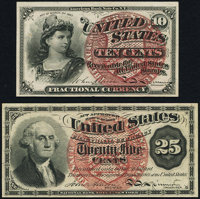 Fr. 1258 10¢ Fourth Issue Choice About New; Fr. 1302 25¢ Fourth Issue New. ... (Total: 2 notes)
