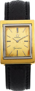 Timepieces:Wristwatch, Omega, 18k Yellow & White Gold Vintage Wristwatch, circa 1962. ...