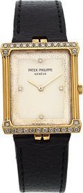 Timepieces:Wristwatch, Patek Philippe, Ref. 3776 Gold & Diamond Wristwatch, circa 1977. ...