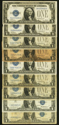 Small Size:Silver Certificates, $1 Silver Certificates Funny Backs and Later Stars Nine Examples.. ... (Total: 9 notes)
