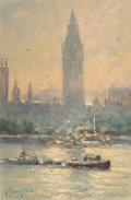 Fine Art - Painting, American, G. (Gerald Harvey Jones) Harvey (American, 1933-2017). Along the Thames, London, 1988. Oil on board. 9 x 6 inches (22.9 ...