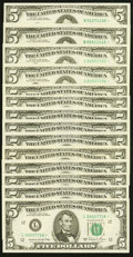 Small Size:Federal Reserve Notes, Fr. 1973-I* $5 1974 Federal Reserve Star Notes. Two Examples. Choice Crisp Uncirculated;. Fr. 1975-B*; I* $5 1977A Federal... (Total: 14 notes)
